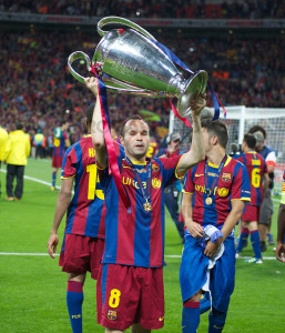 andres iniesta is one of the top 10 players with most champions league wins