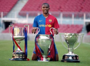 Samuel eto'o has 3 champions league trophies